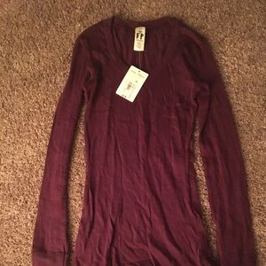 NWT maroon Free People L/S Top with button detail